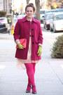 Peach-chiffon-zara-dress-maroon-wool-jacket-hot-pink-hue-tights