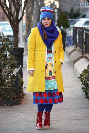 yellow wool blend J Crew coat - blue zigzag beanie JCrew hat