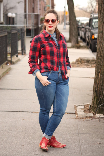 periwinkle cotton vintage shirt - ruby red plaid Forever 21 shirt