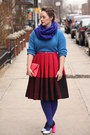 Hot-pink-wool-vintage-skirt-navy-hue-tights-navy-wool-blend-j-crew-scarf