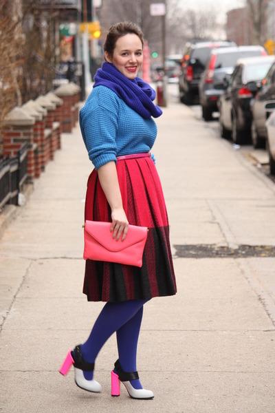hot pink wool vintage skirt - navy HUE tights - navy wool blend J Crew scarf