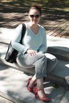 light blue mint Zara jumper - heather gray gray jeans - black Zara bag