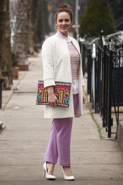 white Zara coat - hot pink beaded bag - white cotton free people top