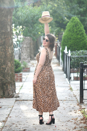 black black Zara sandals - brown cheetah print asos dress