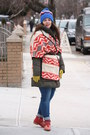 Red-studded-zara-boots-olive-green-sleeping-bag-zara-coat-periwinkle-jeans