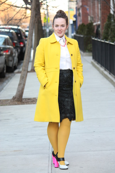 yellow wool blend J Crew coat - white collared Zara shirt - mustard HUE tights