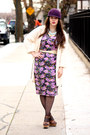 Amethyst-asos-dress-purple-wool-hat-black-polka-dot-hue-tights