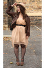Peach-chiffon-dress-neutral-wool-felt-hat-dark-brown-leather-bomber-jacket