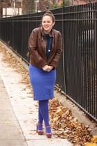 blue tights - dark brown leather bomber jacket - blue wool pencil JCrew skirt