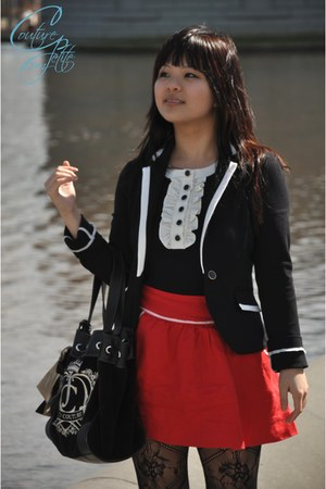 black Express blazer - black Juicy Couture bag - black Forever 21 top - red Fore