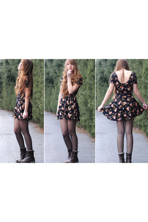 black floral brandy melville dress - dark brown Forever 21 boots