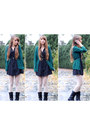 Teal-h-m-cardigan-black-hearts-thrifted-dress-white-lace-target-tights