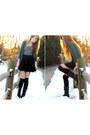 Black-over-knee-urban-outfitters-socks-black-skater-skirt