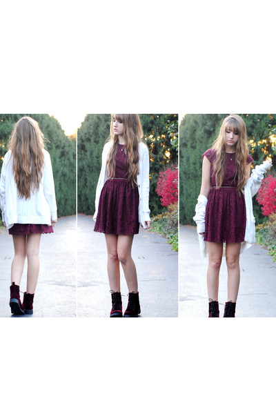 crimson burgundy lace H&M dress - crimson velvet H&M boots