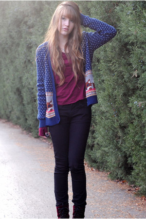 navy fox Urban Outfitters cardigan - velvet H&M boots