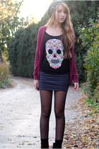 black floral skull H&M top - crimson velvet H&M boots