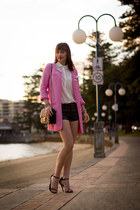 hot pink boucle Zara coat - white silk Zara shirt