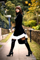 black leather zomp boots - black wool Country Road jumper
