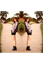 gold gold sequinned Zara blazer - black ankle boots LR boots - black asos shorts