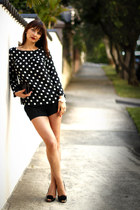 black polka dot Zara top - black silk asos shorts