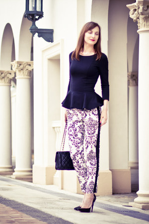 peplum Cue top - quilted leather Chanel bag - baroque print Zara panties