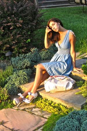 silver Charlotte Russe heels - sky blue H&M dress - off white coach bag