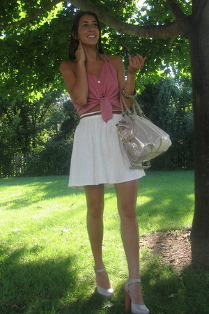 ivory coach bag - white Forever 21 skirt - bubble gum BJewel blouse