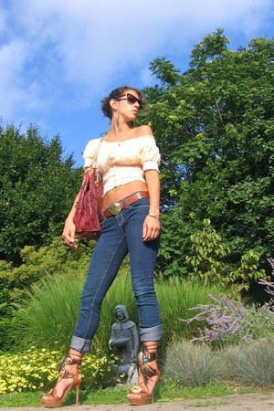 bronze Bakers sandals - maroon Michael Kors bag - brown Prada sunglasses