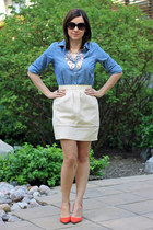 rachel rachel roy heels - BCBG necklace - H&M Trend skirt - Old Navy blouse