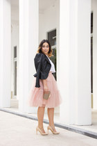 pink tulle Chicwish skirt - black faux leather Forever 21 jacket