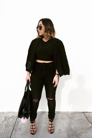 black Gucci shoes - black cropped TJMaxx blouse - black high waisted hm pants