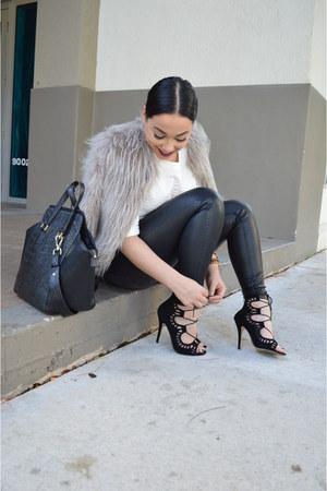 black lace-up shoemint shoes - faux fur Forever 21 coat