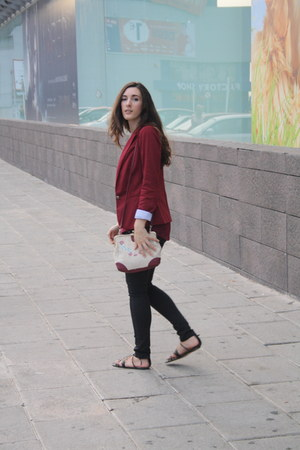 black Zara pants - brick red Stradivarius blazer - black Stradivarius sandals