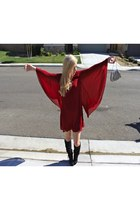 black boots - ruby red dress