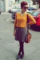 vintage sweater - leather shoes - cotton shirt - bag - glasses - l belt
