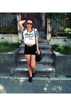 bag - leather shoes - jeans shorts - sunglasses - t-shirt - necklace