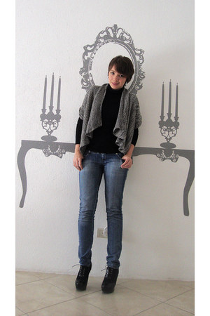 charcoal gray no brand vest - black Forever 21 boots - blue Sexy Jeans jeans