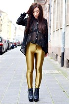 gold gold romwe leggings