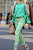 aquamarine simple New Yorker jeans - brown fur pull&bear jacket