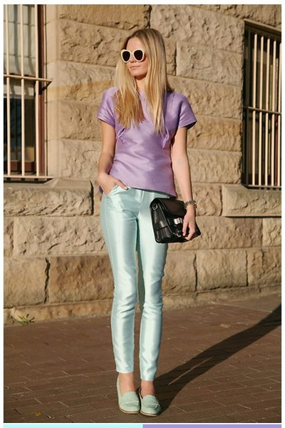 light blue metalic Topshop pants