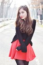 Black-h-m-sweater-red-h-m-skirt