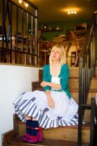 vintage skirt - vintage belt - Promod cardigan - Polo Garage top