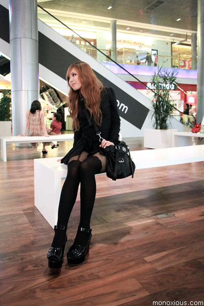 black H&M shoes - black Topshop shirt - black bag - black Topshop stockings