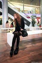 black H&M shoes - black Topshop shirt - black bag - black Topshop stockings