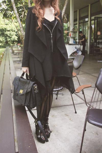 black Topshop leggings - black H&M shoes - black H&M jacket - black random from