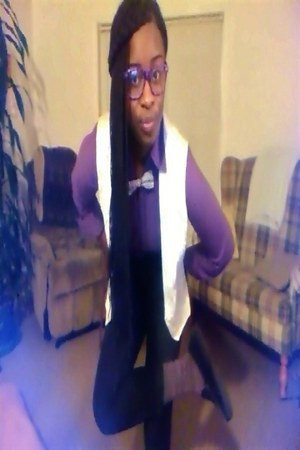 grey high waist MNG by Mango pants - socks - purple stretchy Worthington blouse