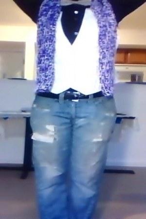 Levis jeans - crochet purple scarf - vest - Zanella blouse - bow tie tie