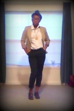 brown Stacy Adams loafers - khaki stretchy Worthington blazer - Old Navy shirt