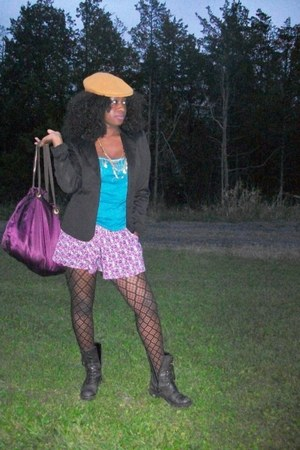 caramel Kangol hat - black Mango blazer - purple Victorias Secret bag