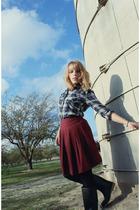 blue Forever 21 shirt - red Forever 21 skirt - black boots - black tights